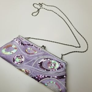 Purple sequined and beaded clutch bag